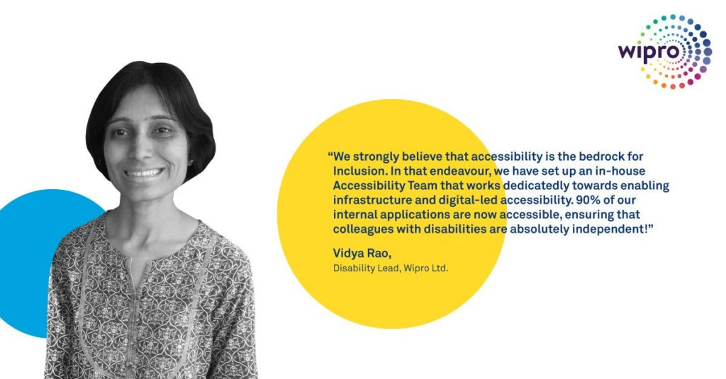 Statement by Vidya Rao about accessibility at Wipro